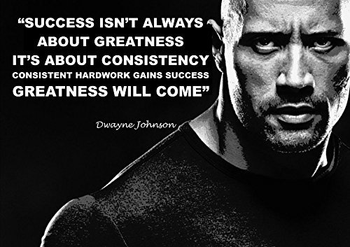 Dwayne Johnson, (3) The Rock Inspirational Motivational Quote Sign Poster Print Picture SPORTS,LIFE, Wrestling
