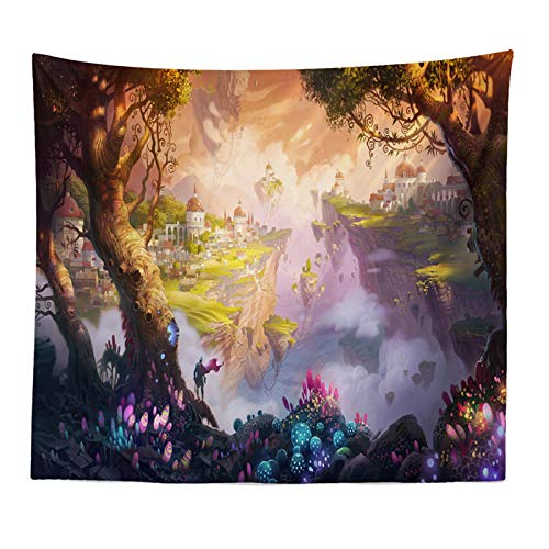 Tapiz Fairytale Dreamy Tapestry Wall Hanging Psychedelic Carpet Huge Mushroom Castle Witchcraft Hippie Kids Room Decor Wall Tapestries 150cmx130cm 06