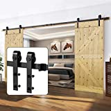 U-MAX 13 FT Double Door Sliding Barn Door Hardware Kit - Heavy Duty, Smoothly and Quietly -Simple and Easy to Install - Fit 30'- 36' Wide Doors Panel (J Shape Hangers)