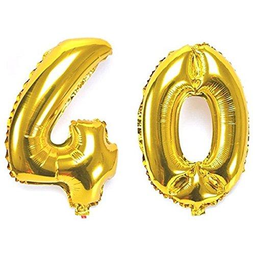 Ouinne Fête Ballons D'hélium Foil NO.40, Articles de Ballon 40 Ans pour Anniversaire de Mariage Décoration, 40 Pouces (Or)