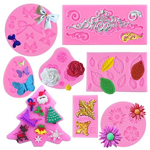 Silicone Fondant Cake Mold, HOSTK 8PCS Mini 3D Flower Butterfly Leaves Baroque Style Scrolls Cake Border Decorative DIY Baking Cake Tool for Chocolate Cake Jelly Sugar Craft Soap