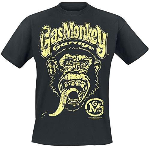 Gas Monkey Garage Logo Hombre Camiseta Negro XXL, 100% algodón, Regular