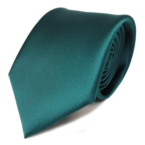 Elegante Designer Krawatte grün petrol dunkles türkis Uni Satin Glanz - Tie Schlips Binder