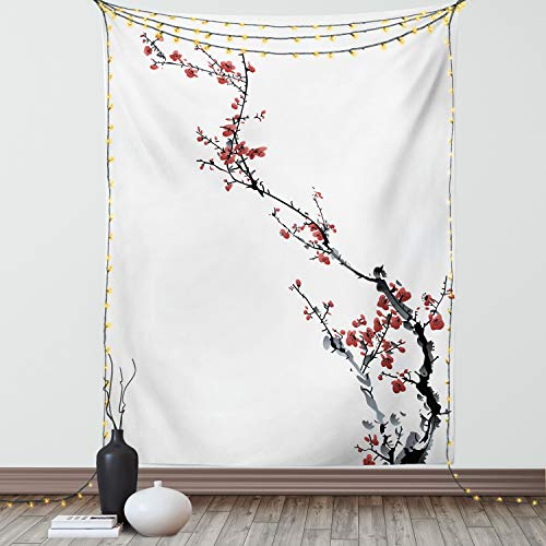 Ambesonne Watercolor Flower Tapestry, Sakura Tree Cherry Branches in Classic Style Artwork, Wall Hanging for Bedroom Living Room Dorm Decor, 60' X 80', Coral Black