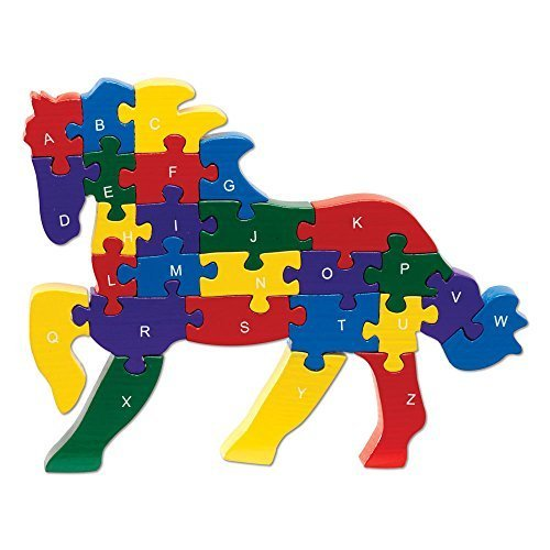 Bits and Pieces - Horse Shaped Alphabet Puzzle - ABC Puzzle Blocks - Educational Learn Letters and Numbers Horse Puzzle Animal - Colorful, Non-Toxic Paint