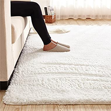 MAXYOYO Ultra Soft 3.5cm Thicken Sherpa Soft Shag Area Rug Fluffy Living Room Carpet Bedroom Rug 55 by 78 inch Solid Shaggy Area Rug Dining Room Home Bedroom Carpet Floor Mat