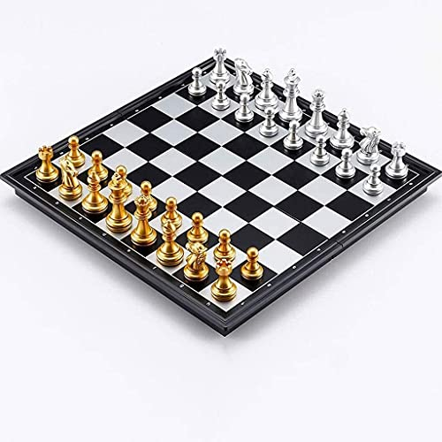 ZHBH International Chess Foldable magnetic chess game for adults, eye protection, waterproof and fall hard, Special chess for children training and competition, chess pieces Plastic Feel yourself A