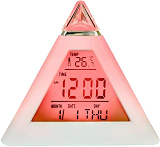 ZUEN Creative Multifunction 7 Color Colorful Pyramid LCD Alarm Clock Night Light Thermometer Digital Wall Clock Replaceable LED Clock Home Decoration Accessories