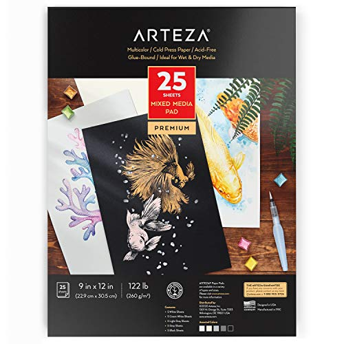 Arteza Colored Watercolor Pad, 25 Sheets, 9'x12' (22.86 x 30.48cm), Glue-Bound, 5 Shades Colored Watercolor Paper: White, Cream, Light Gray, Gray, & Black