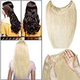 Extension Cheveux a Fil Invisible Transparent a Enfiler Cheveux Naturel Remy Cheveux Humain Sans Clips (#60 BLOND PLATINE, 16'/40cm-60g)