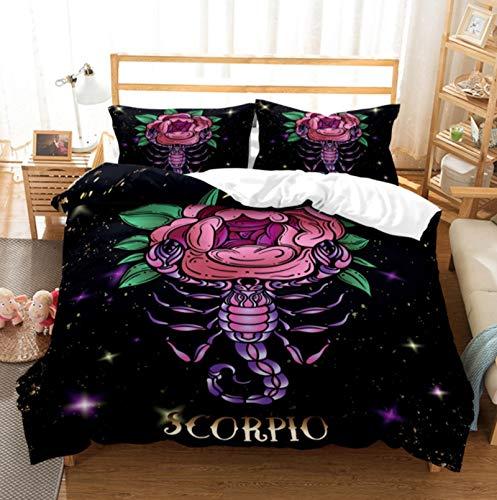 LIANHUAA Juego de ropa de cama 3D doce constelaciones de Aries, León, Piscis, Funda nórdica...