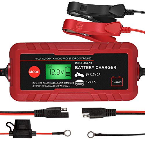 Smart Battery Charger, 6V/12V Automotive Battery Charger, Portable Battery Maintainer, 8-Stages Trickle Charger, Rescue and Recover Batteries, Fast Charging for Car Boat Lawn Mower Marine Sealed
