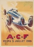 Reims Automobile 1938 Poster Reproduktion/Format 50 x 70 cm