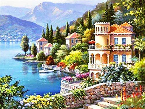 5D DIY Diamond Painting by Number Kit Castle Scenery Square Drill,120x90cm Adults and Kids Full Drill Beads Crystal Rhinestone Embroidery Cross Stitch Supplies Arts Craft for Home Wall Decor U3647