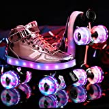 GYHHHM Roller Femme Patins à roulettes Patin à roulettes en Cuir de Première Qualité, Patins Quad Classiques Unisexe,Pink(LED),34