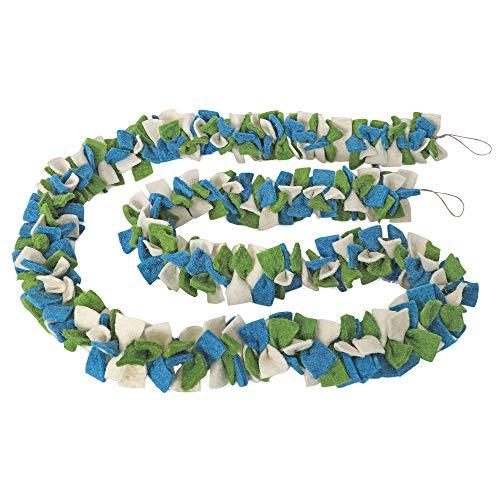 De KultureTM handgemaakte vilten boog slinger (groen, blauw & gebroken wit) 72