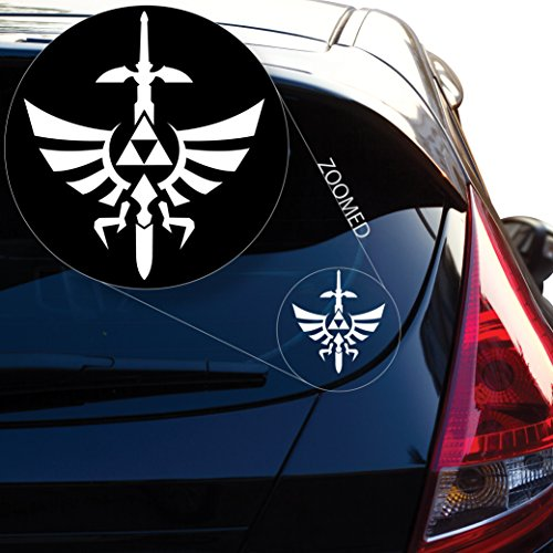 Yoonek Graphics Zelda Triforce with Sword Decal Sticker for Car Window, Laptop, Motorcycle, Walls, Mirror and More. # 554 (4' x 3.6', White)