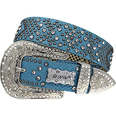 1339 High End Reptile Look Leather Western Belts Cowgirl Bling Belts Rodeo Belts Plus Size Western Belts For Cowgirls (BLUE-EXOTIC, XXL)