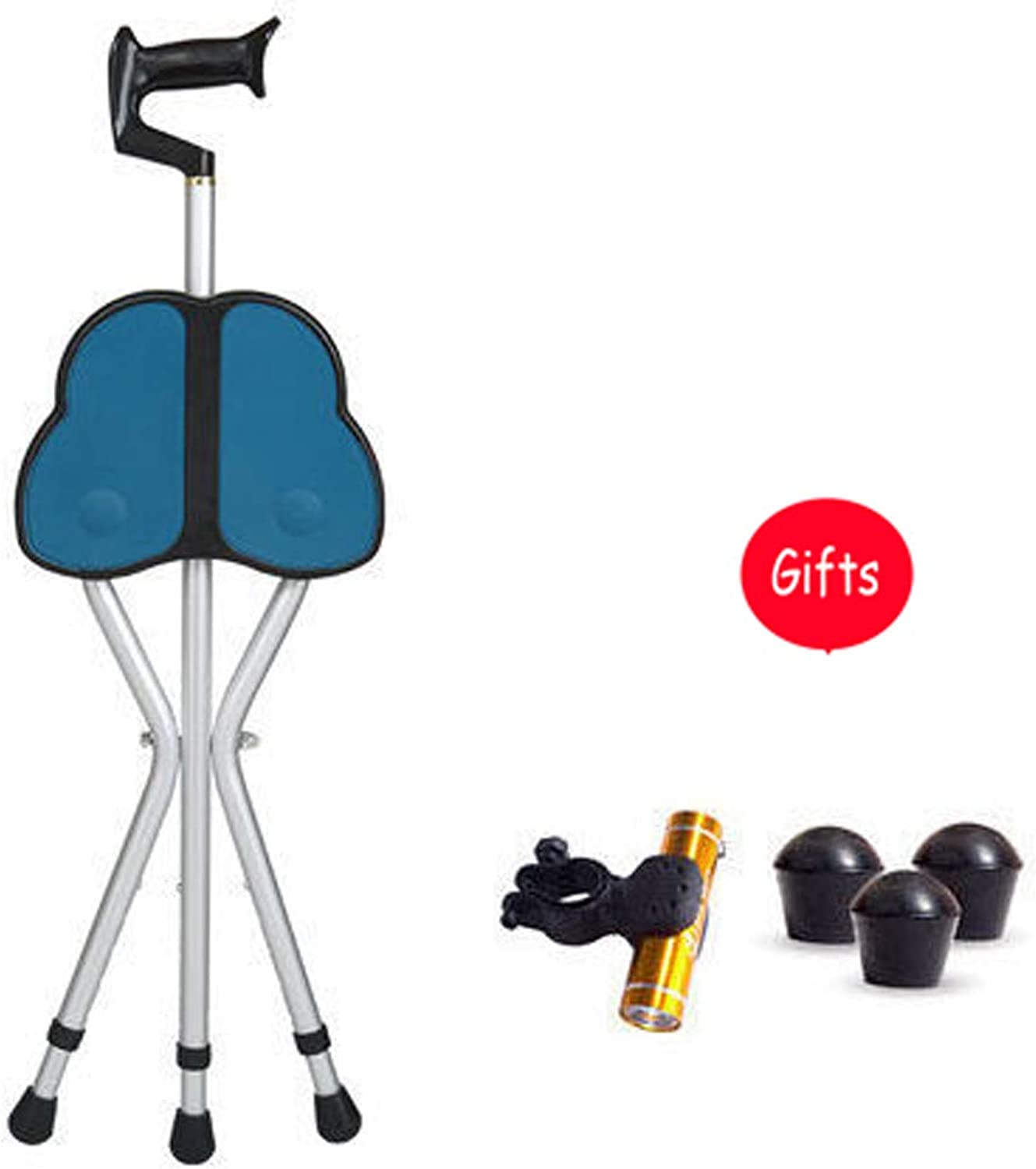 Cane Stool, 3 Legs Cane Seats, Crutch Chair Seat, 3 Legs Cane Seats, Walking Stick Chair Combo, Folding Walking Cane, with LED Light Lightweight and Adjustable,BigSittingBoardA
