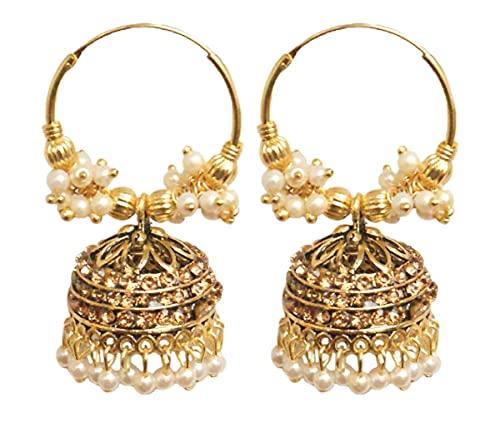 Pahal Ethnic Bollywood Jaipur - Pendientes de aro con perla india, color beige