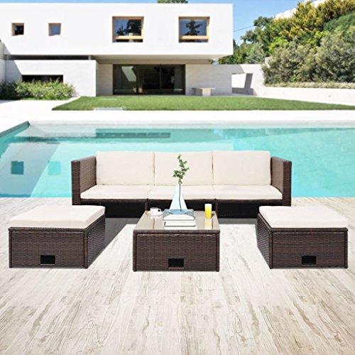 lingjiushopping Ensemble canapés de jardin 12 pièces en polyrotin modulaire marron Couleur du coussin : Blanc crème Ensemble de meubles d'extérieur