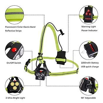 Chenci Eclairage Course Lampe de Poitrine Lampe Running USB Rechargeable pour Marche, Running Eclairage Course à Pied de 3 Modes pour Courir Soir en Hiver, Jogging Nuit -Jaune
