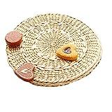iBaste 2er Set Untersetzer aus Stroh Platzmatte Tischset Schüssel Matte Tee Set Pad Isolation Pot Mat Durchmesser 20cm/25cm