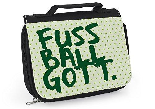 Waschtasche Fussball, Kulturtasche Kinder, Fussballgott, Fussball Geschenk, Fussball Mädchen, Grüne Tasche, Fussballtrainer Geschenk, WT039