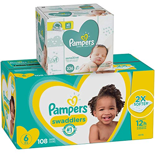 Diapers Size 6, 108 Count and Baby Wipes - Pampers Swaddlers Disposable Baby Diapers and Water Baby Wipes Sensitive Pop-Top Packs, 336 Count