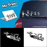 Ma Tribu autocollants Stickers Famille Voiture - Garçon Rugby (Noir)