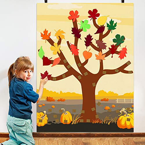ORIENTAL CHERRY Fall Crafts for Kids - Felt Thankful Tree with 52 Detachable Leaves - Bulletin Board Decorations for Autumn Thanksgiving Activities Toddlers Ages 2-4 3-5 6-8 8-12