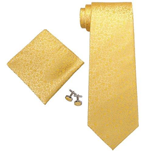 Landisun Floral Pattern Set De Cravates, Yellow (28C Gold Yellow), Small Homme
