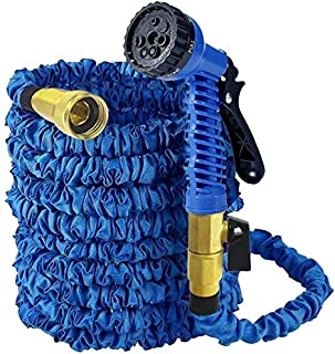 """MTB Supply Expandable Garden Hose,100-ft (Blue) Lightweight Garden Water Hose with Spray Nozzle and 3/4""""Solid Brass Fittings"""