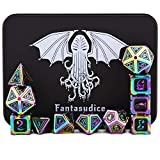 Cthulhu Rainbow polyhedral Metal Dice 11 Dice Set Cthulhu Metal Box for Dungeons and Dragons (D&D, DND 5 Edition) Call of Cthulhu Warhammer Shadowrun and All Tabletop Games. (Rainbow Cthulhu)