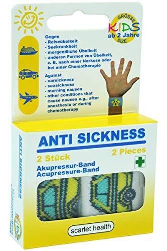 scarlet health   Akupressurband »Sea«, 1 Paar Akupressur-Armbänder gegen Übelkeit & Seekrankheit, für Erwachsene & Kinder, Anti-Übelkeitsband fürs Handgelenk, 2 elastische Bänder (Gelb Auto)