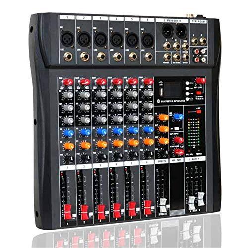 Mesas de Mezclas, Controlador Mezclador de Audio DJ de 6 Canales Bluetooth USB Compatible con Consola mezcladora portátil Amplificador Mezclador de Sonido Digital con Mezclador Audio