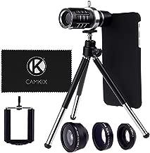 CamKx Camera Lens Kit Compatible with Apple iPhone 6 Plus / 6S Plus ONLY - 12x Telephoto Lens, Fisheye Lens, Macro Lens, Wide Angle Lens, Tripod, Phone Holder, Hard Case, Velvet Bag (Lens Kit)