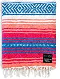 Authentic Mexican Blanket - Park Blanket, Handwoven Serape Blanket, Perfect as Beach Blanket, Picnic Blanket, Outdoor Blanket, Yoga Blanket, Camping Blanket, Car Blanket, Woven Blanket (Coral)