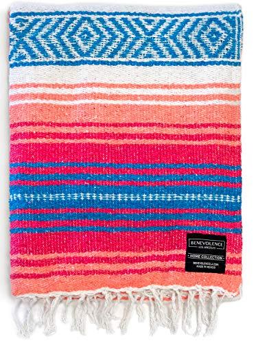 Authentic Mexican Blanket - Park Blanket, Handwoven Serape Blanket, Perfect as Beach Blanket, Picnic Blanket, Outdoor Blanket, Yoga Blanket, Camping Blanket, Car Blanket, Woven Blanket (Coral)