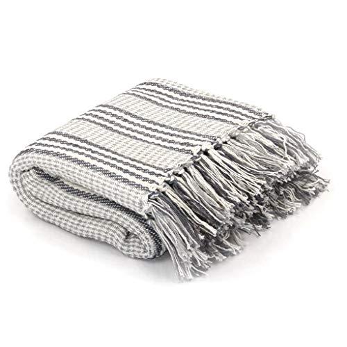 Festnight ?berwurf Decke Sofaüberwurf Bettüberwurf Baumwolle Tagesdecke Quasten-Design Streifen 160 x 210 cm Grau und Wei?