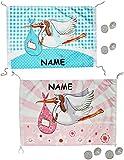 alles-meine.de GmbH XL Dekofahne -  Storch - Baby rosa / zur Geburt  - incl. Name - z.B. für Fenster / Tür - Aussen & Innen - Türschild - Fensterfahne / Fahne - Mädchen - wasse..