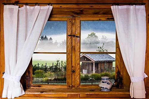 ZYDZYD Fensterausblick Hüttennebel Morgennebel Landschaftsvorhänge,30X40cm DIY malen nach Zahlen Erwachsene Kinder Leinwanddruck Wandkunst - Ohne Rahmen
