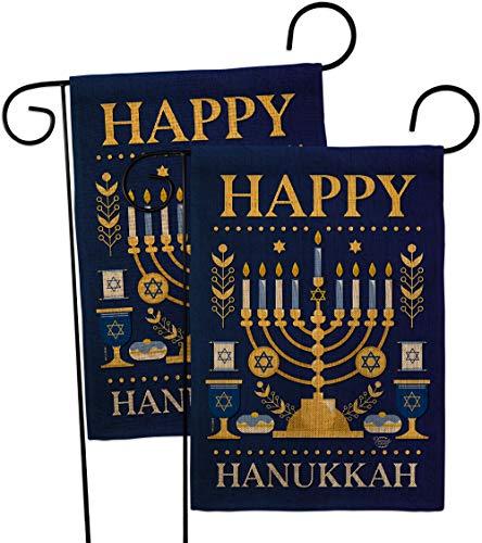 Ornament Collection Happy Hanukkah Garden Flag 2pcs Pack Winter Candle Bonsai Menorah Jewish Chanukah David House Decoration Banner Small Yard Gift Double-Sided, 13'x 18.5', Thick Burlap