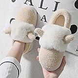 MLLM Zapatillas de Interior/Exterior de Felpa peludaZapatillas de algodón para Padres e Hijos, Lindas astas, Zapatos de Felpa, Zapatillas cálidas para niñas-mi_39-40
