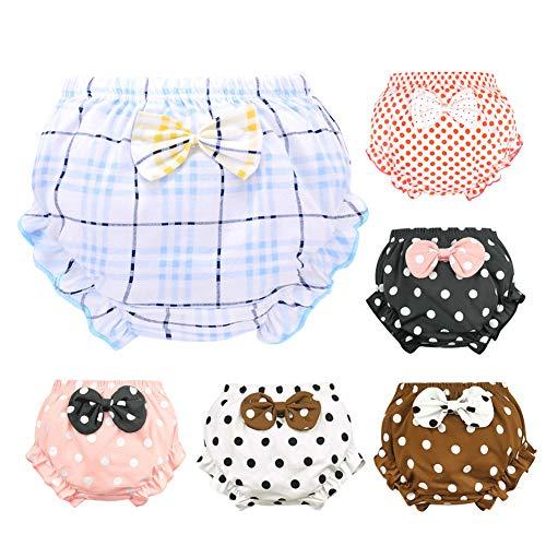 LPATTERN Baby Kleinkind Mädchen Prinzessin 6er Pack Baumwolle Unterhose Unterwäsche Höschen Schlüpfer mit Schleife, A/Polka Dot in 5 Farbe+ Karo Slip, 116-122| 120 für 17.5-20KG