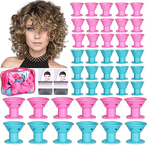 60pcs Magic Hair Rollers Silicone Hair Curlers Set Large and Small Rollers for Hair Magic Curls Heatless Hair Curlers for Women DIY Curly Wavy Hair Styling Tools (Pink, Blue)