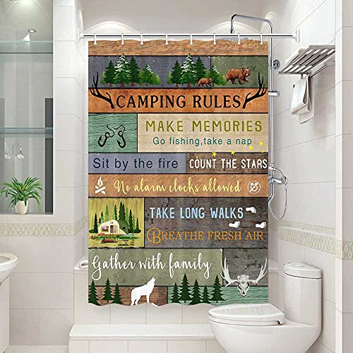 RV Shower Curtain for Camper Trailer Camping Bathroom, Camping Tent with Trees and Mountain Bath Curtain Set, Camping Shower Curtain Set, Shorter and Narrow Shower Curtain with Hooks Set, 47x64Inch