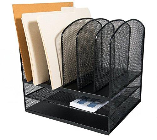 AdirOffice Mesh Desk Organizer - Desktop Paper-File-Folder Organizer-Holder - Letter Tray - 6 Vertical/ 2 Horizontal Sections - Black