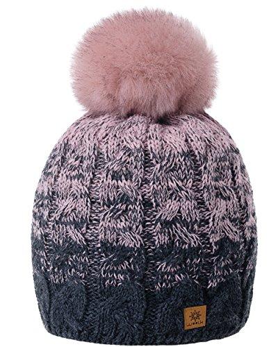 MFAZ Morefaz Ltd Damen Herren Winter Beanie Strickmütze Mütze Wurm Fleece Bommel Fashion Ski (Dark-Grey Pink)