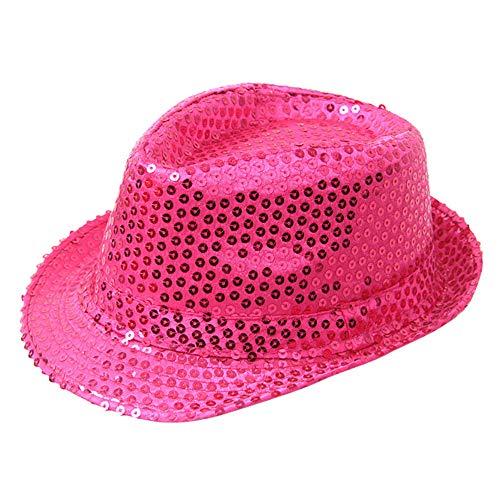 OHQ Party Hut mit Pailletten, Unisex-Erwachsene,Jazz Hut Mützen Glitzer Hut Tanzen Dekoration Zubehör Unisex Hut, One Size Blinkende mit Pailletten für Silvester Party Kostüm Erwachsen